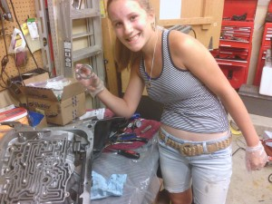 Jackie installing a new torrington bearing.