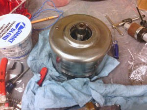 The freshly rebuilt direct clutch drum...