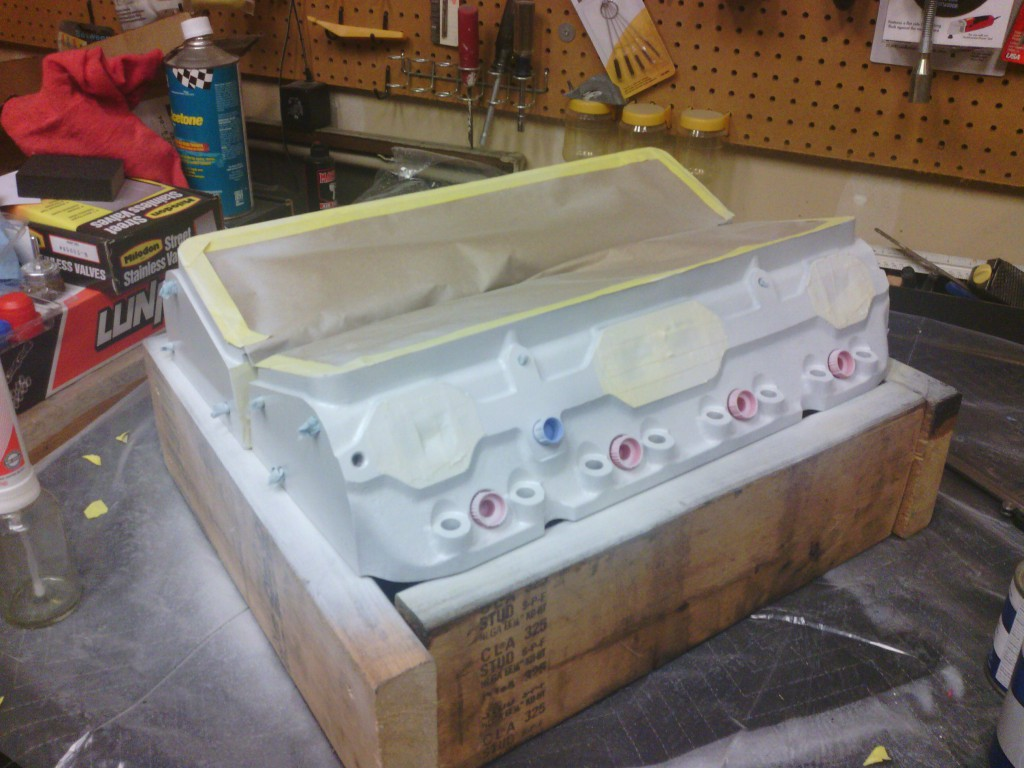 We primed the heads with an aluminum-etching primer for better adhesion for the final paint coat.