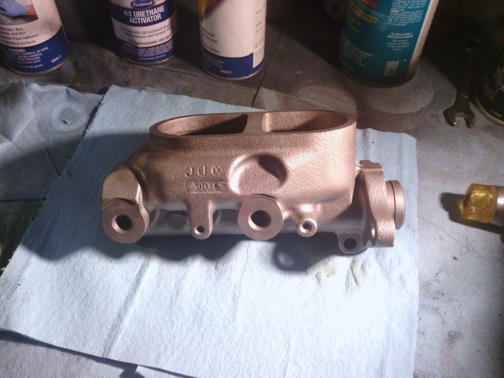 The newly sleeved master cylinder.  We had to sleeve it due to pitting inside the cylinder bore.