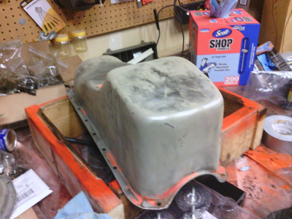 There is still some work to do on the oil pan.