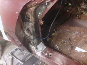 After we removed the door pillar cover.